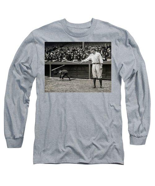 Babe Ruth At Bat Long Sleeve T-Shirt by Jon Neidert