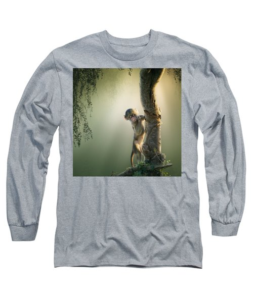 Baby Baboon In Tree Long Sleeve T-Shirt