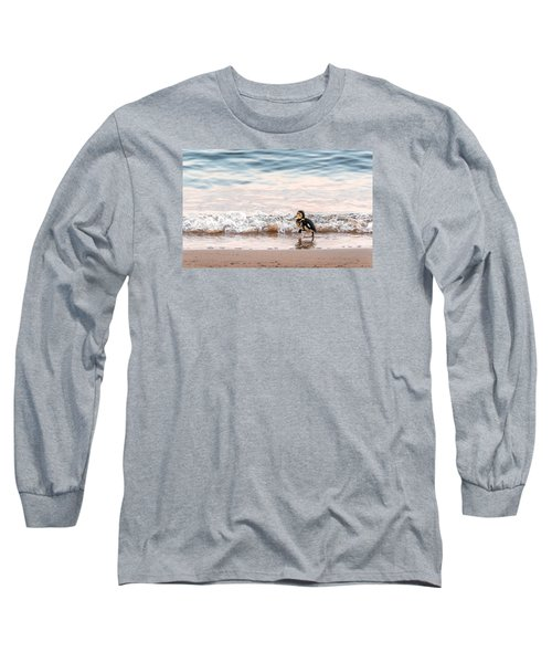 Baby Duck Running On A Beach Into The Waves Long Sleeve T-Shirt