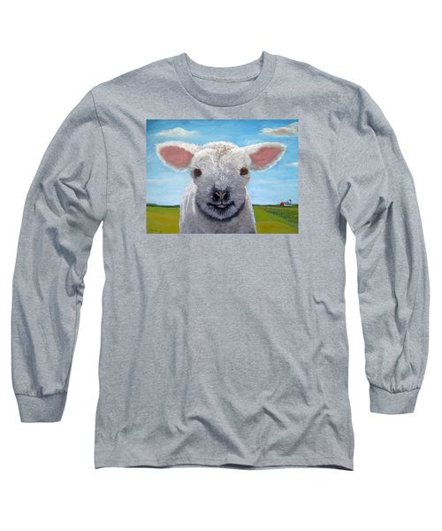 Baby Farm Lamb Sheep  Long Sleeve T-Shirt by Linda Apple