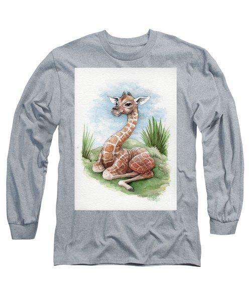 Long Sleeve T-Shirt featuring the painting Baby Giraffe by Lora Serra