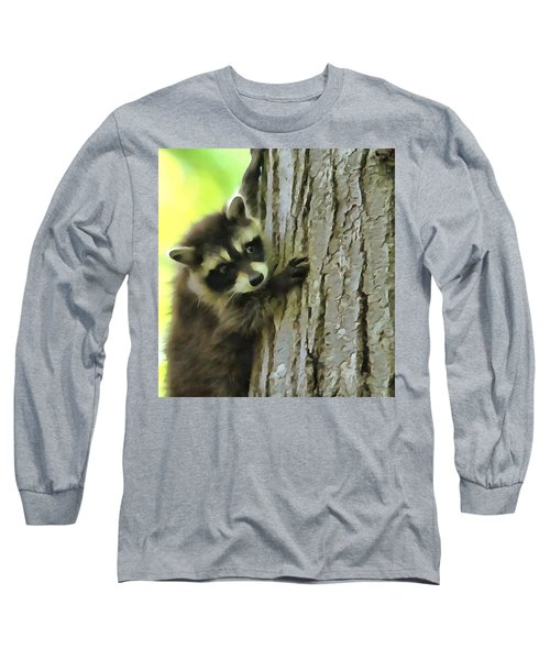 Baby Raccoon In A Tree Long Sleeve T-Shirt by Dan Sproul