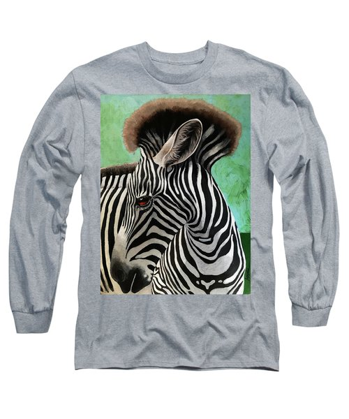 Long Sleeve T-Shirt featuring the painting Baby Zebra by Linda Apple