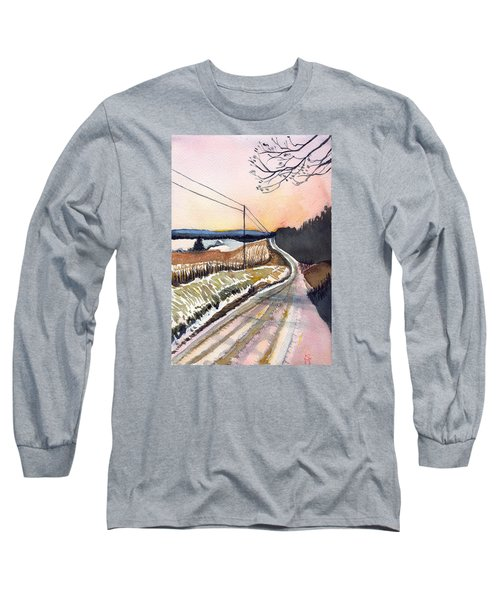 Long Sleeve T-Shirt featuring the painting Backlit Roads by Katherine Miller