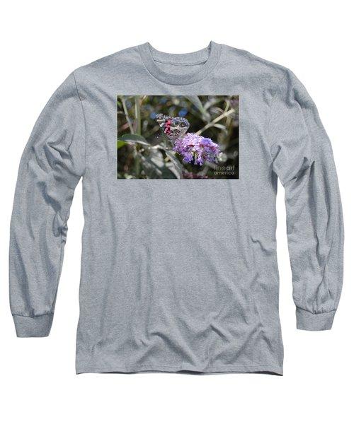 Backyard Buckeye Butterfly Long Sleeve T-Shirt by Debra Thompson