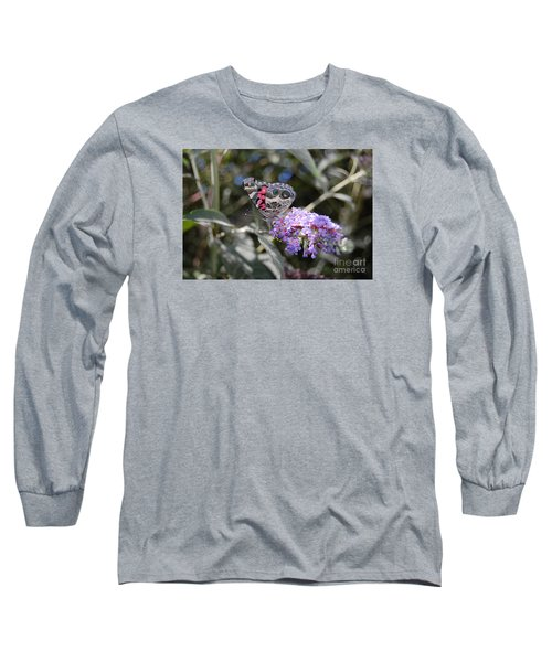 Long Sleeve T-Shirt featuring the photograph Backyard Buckeye Butterfly by Debra Thompson