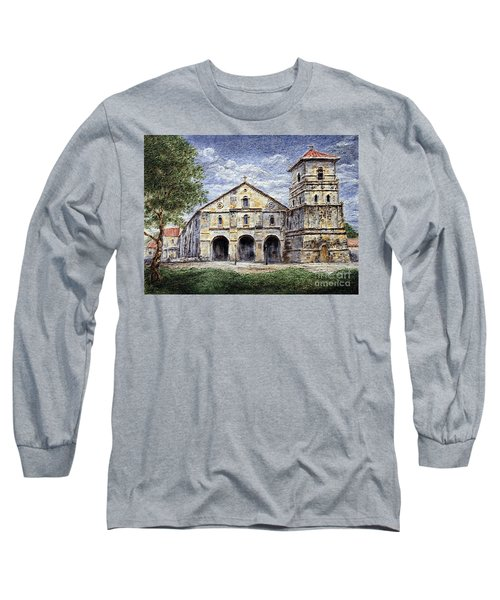 Long Sleeve T-Shirt featuring the painting Baclayon Church by Joey Agbayani
