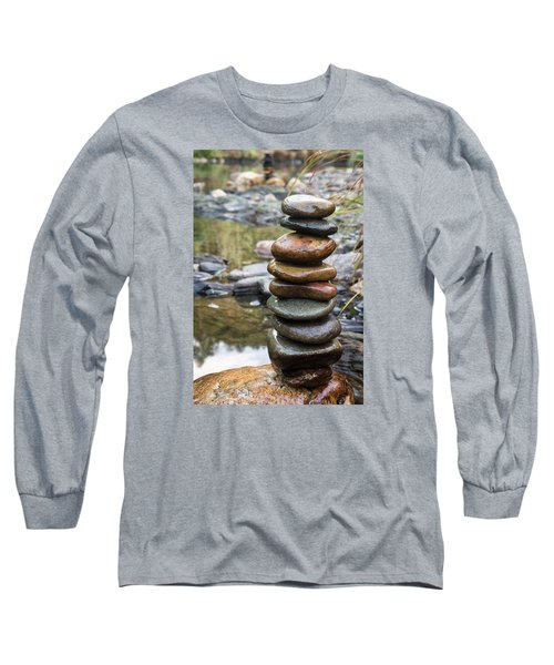Balancing Zen Stones In Countryside River Vii Long Sleeve T-Shirt
