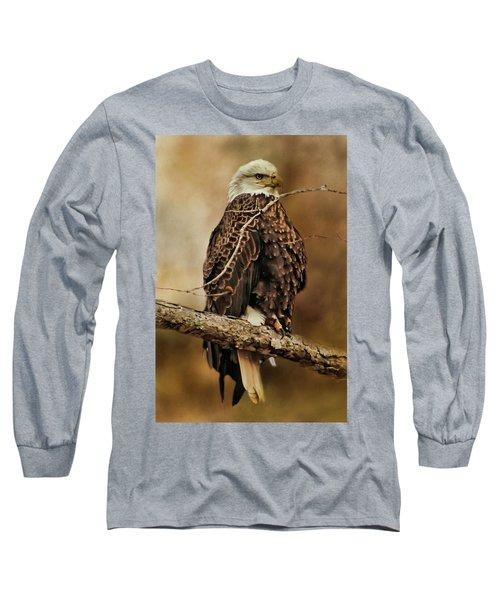 Bald Eagle Perch Long Sleeve T-Shirt by TnBackroadsPhotos