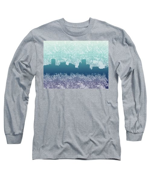 Long Sleeve T-Shirt featuring the painting Baltimore City Skyline Map 2 by Bekim Art