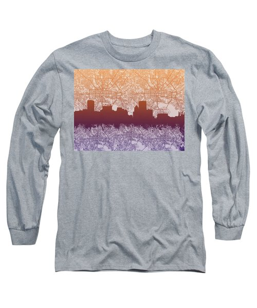 Long Sleeve T-Shirt featuring the painting Baltimore City Skyline Map by Bekim Art