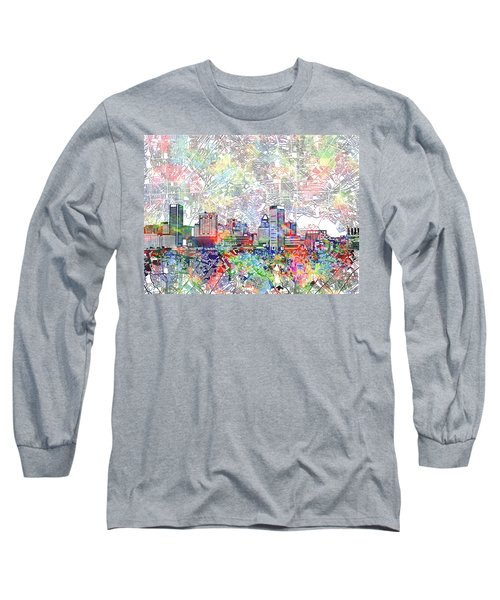 Long Sleeve T-Shirt featuring the painting Baltimore Skyline Watercolor 11 by Bekim Art