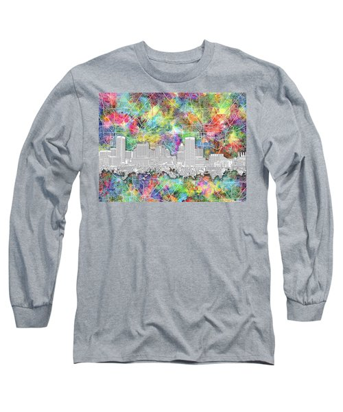 Long Sleeve T-Shirt featuring the painting Baltimore Skyline Watercolor 12 by Bekim Art