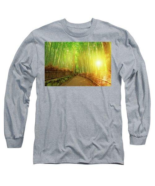 Bamboo Grove Arashiyama Kyoto Long Sleeve T-Shirt