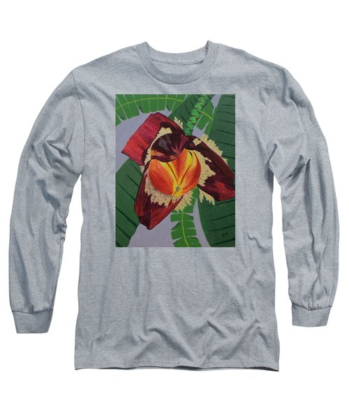 Long Sleeve T-Shirt featuring the painting Banana Blossom by Hilda and Jose Garrancho