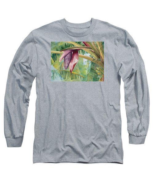Long Sleeve T-Shirt featuring the painting Banana Flower by AnnaJo Vahle