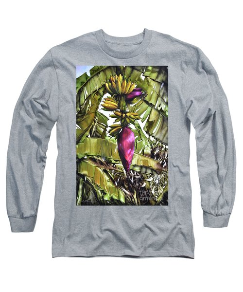 Long Sleeve T-Shirt featuring the painting Banana Tree No.2 by Chonkhet Phanwichien