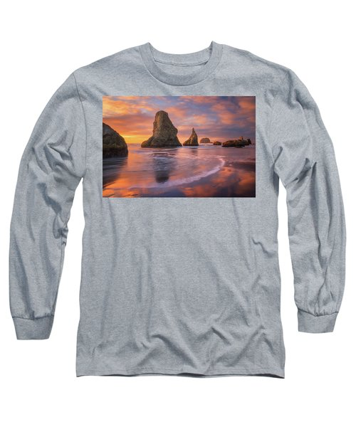 Long Sleeve T-Shirt featuring the photograph Bandon's New Years Eve Light Show by Darren White
