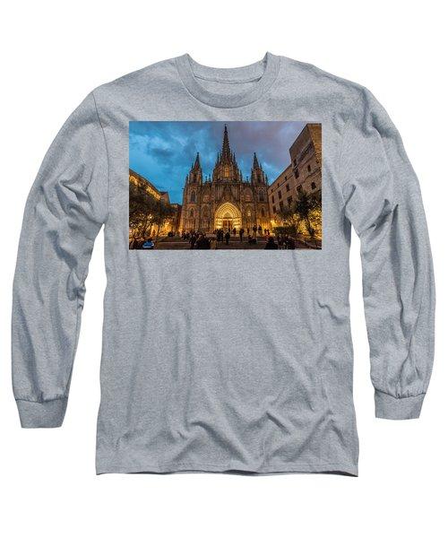 Barcelona Cathedral At Dusk Long Sleeve T-Shirt