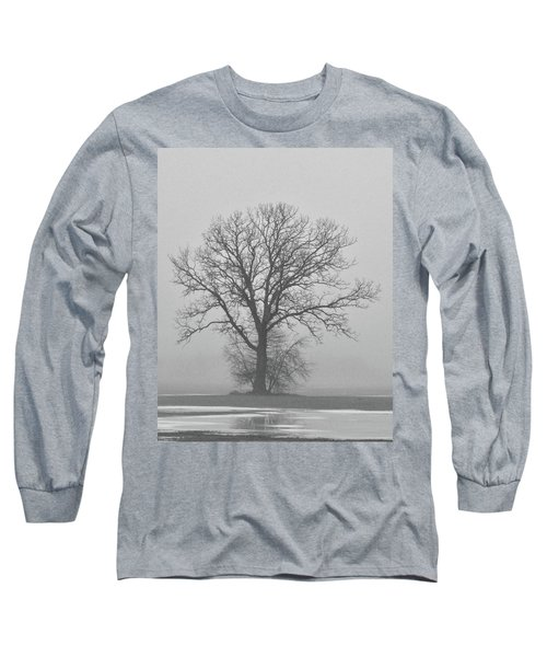 Bare Tree In Fog Long Sleeve T-Shirt by Nancy Landry