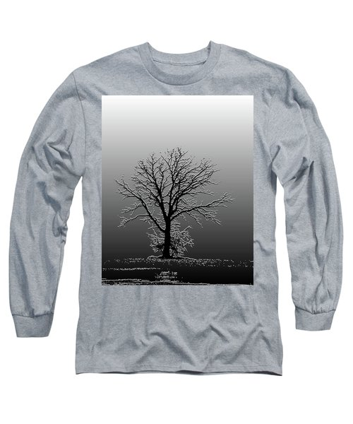 Bare Tree In Fog- Pe Filter Long Sleeve T-Shirt by Nancy Landry
