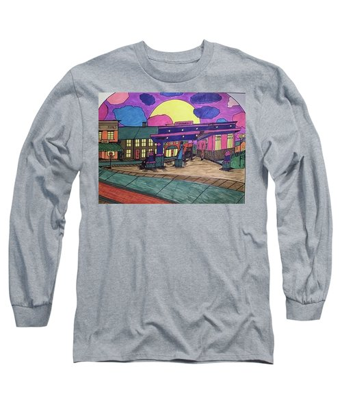 Long Sleeve T-Shirt featuring the drawing Barkhausen Filling Station. by Jonathon Hansen