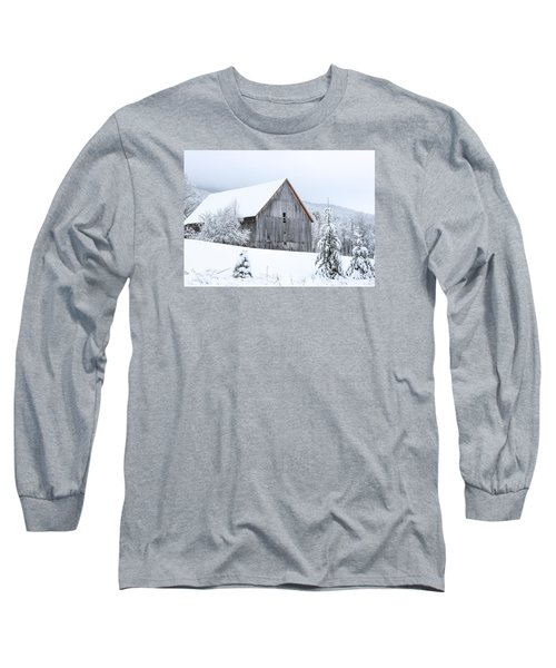 Barn After Snow Long Sleeve T-Shirt by Tim Kirchoff