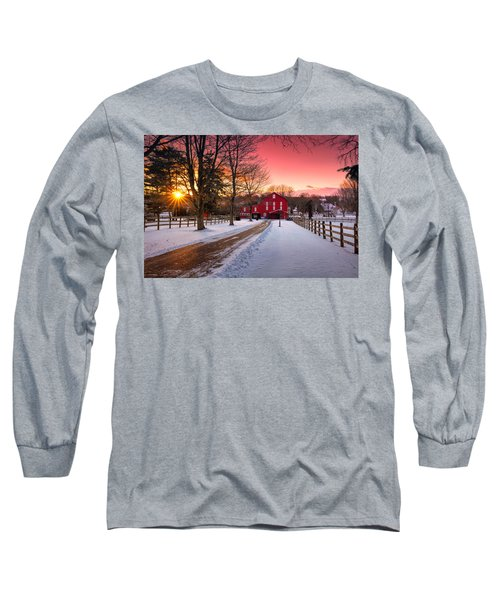 Barn At Sunset  Long Sleeve T-Shirt by Emmanuel Panagiotakis