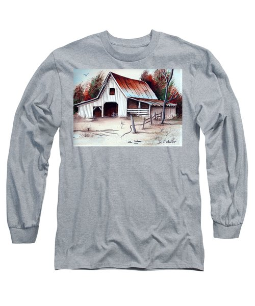 Long Sleeve T-Shirt featuring the painting Barn by Denise Fulmer