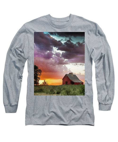 Long Sleeve T-Shirt featuring the photograph Barn In Stormy Skies by Dawn Romine