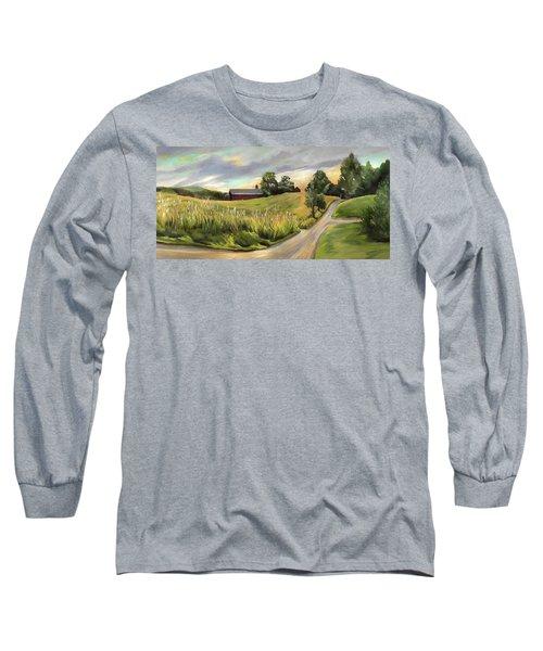 Barn On The Ridge In West Newbury Vermont Long Sleeve T-Shirt