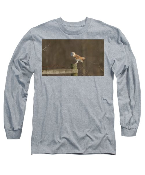 Barn Owl On Fence Long Sleeve T-Shirt