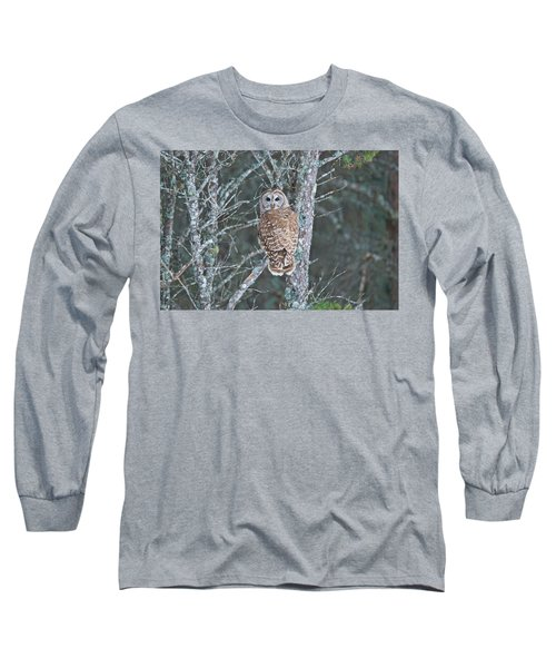 Barred Owl 1396 Long Sleeve T-Shirt by Michael Peychich