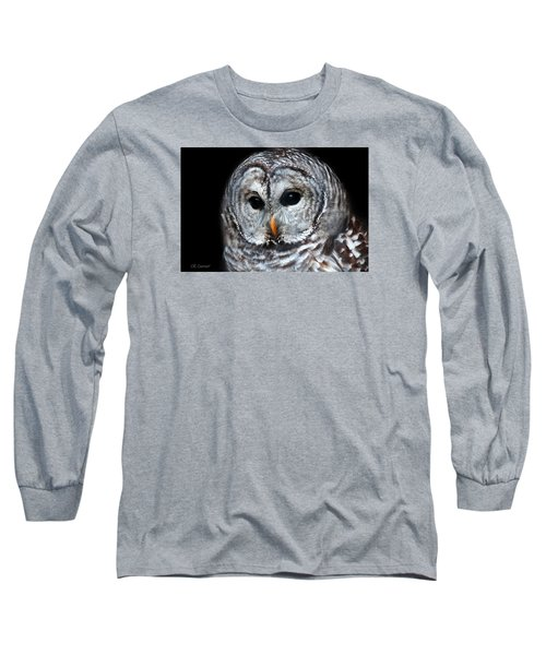 Barred Owl Portrait Long Sleeve T-Shirt by CR  Courson