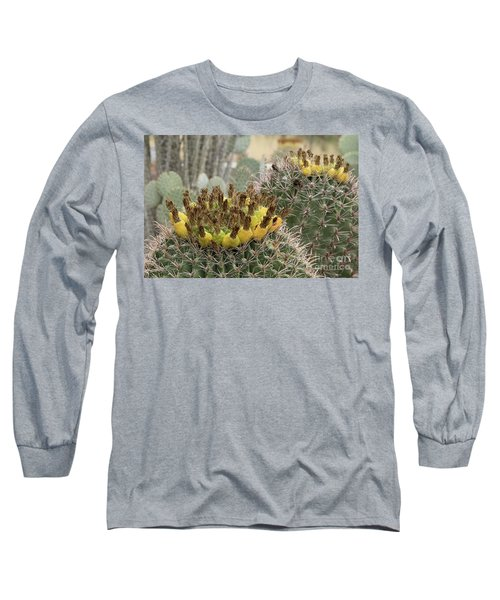 Barrel Cactus Closeup Long Sleeve T-Shirt by Anne Rodkin