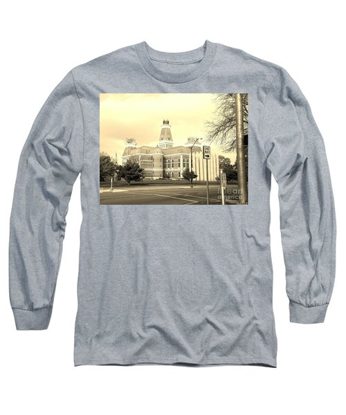 Bartholomew County Courthouse Columbus Indiana - Sepia Long Sleeve T-Shirt