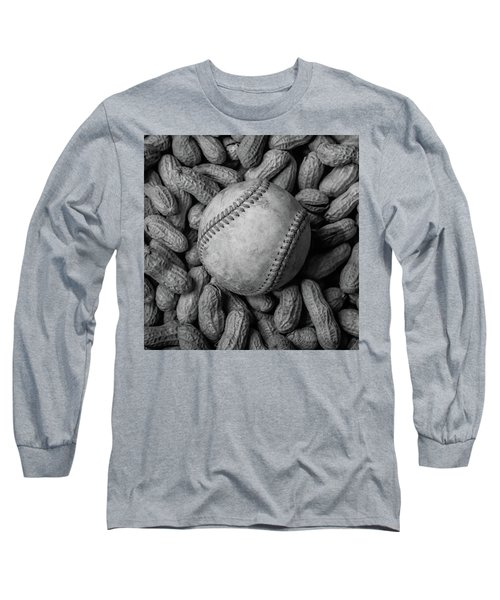 Long Sleeve T-Shirt featuring the photograph Baseball And Peanuts Black And White Square  by Terry DeLuco