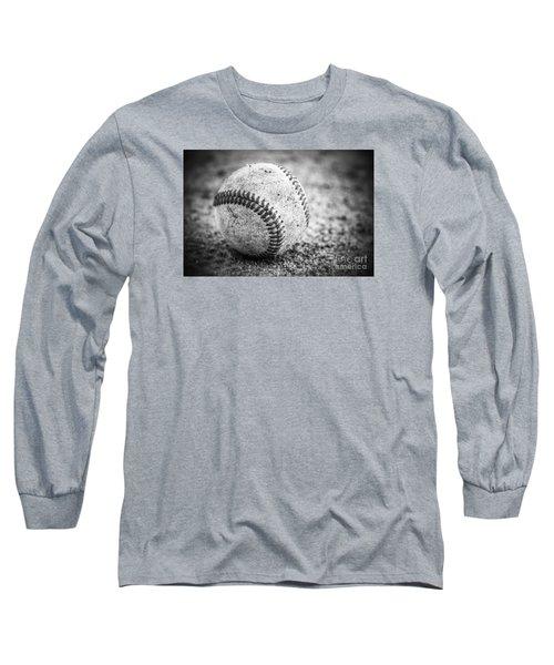 Baseball In Black And White Long Sleeve T-Shirt