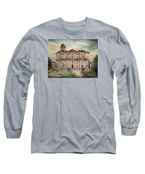 Long Sleeve T-Shirt featuring the painting Basilica De San Martin De Tours by Joey Agbayani