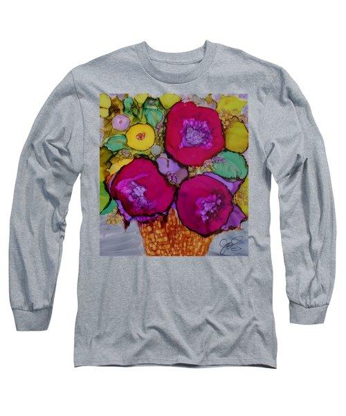 Basket Of Blooms Long Sleeve T-Shirt by Joanne Smoley