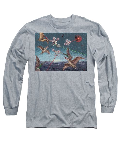 Battle Of Pterosaurs And Drones Long Sleeve T-Shirt by Holly Wood