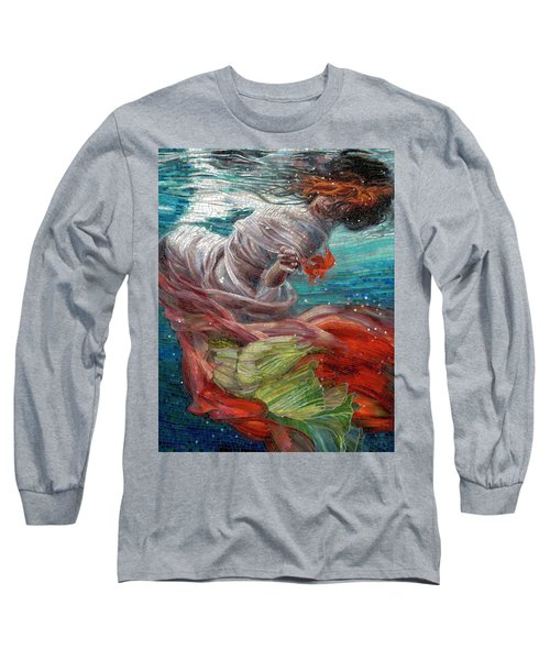 Long Sleeve T-Shirt featuring the painting Batyam by Mia Tavonatti