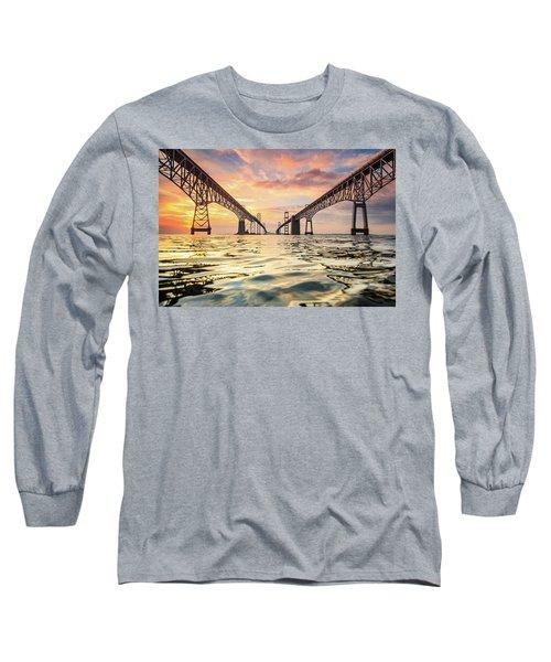 Bay Bridge Impression Long Sleeve T-Shirt by Jennifer Casey