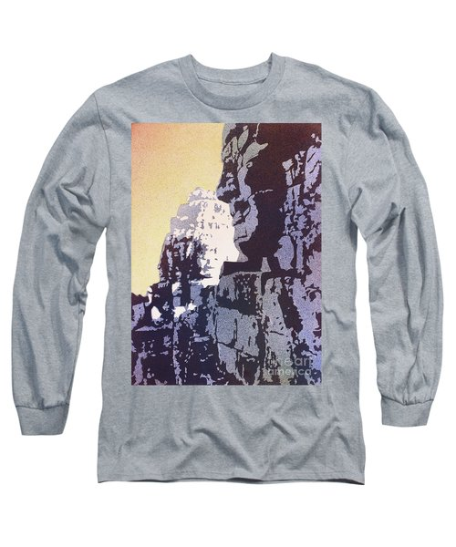 Long Sleeve T-Shirt featuring the painting Bayon Temple- Angkor Wat, Cambodia by Ryan Fox