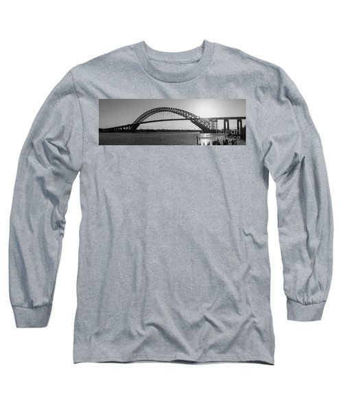 Bayonne Bridge Panorama Bw Long Sleeve T-Shirt