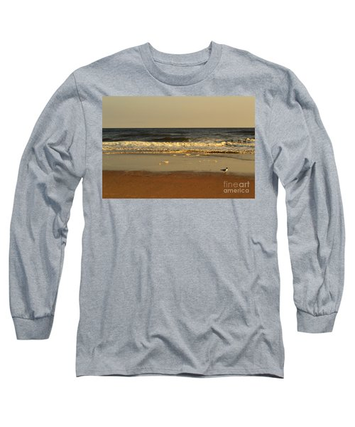 Beach Bird At Sunset  Long Sleeve T-Shirt