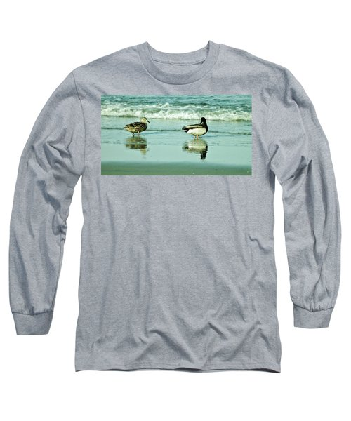 Beach Ducks Long Sleeve T-Shirt by John Wartman