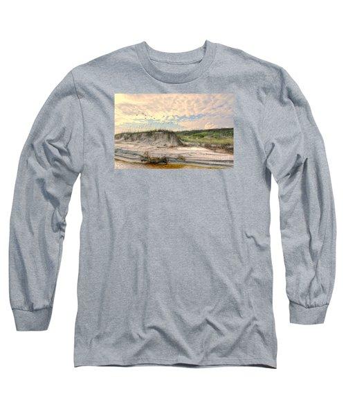 Beach Dunes And Gulls Long Sleeve T-Shirt by Kathy Baccari