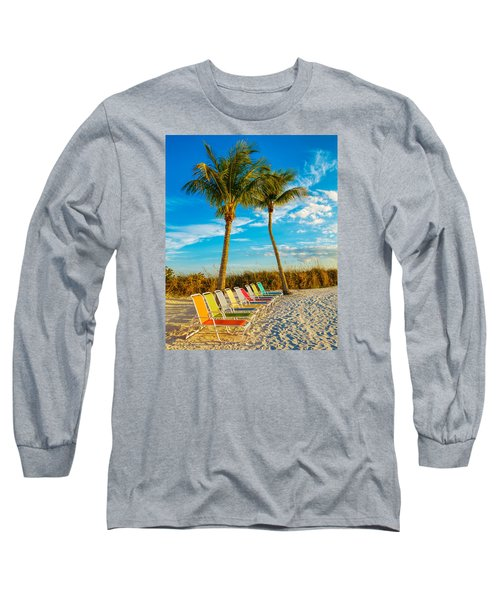 Beach Lounges Under Palms Long Sleeve T-Shirt