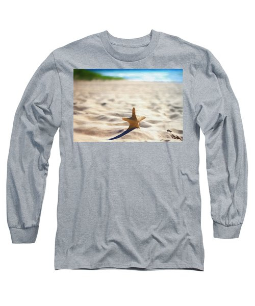 Beach Starfish Wood Texture Long Sleeve T-Shirt by Dan Sproul